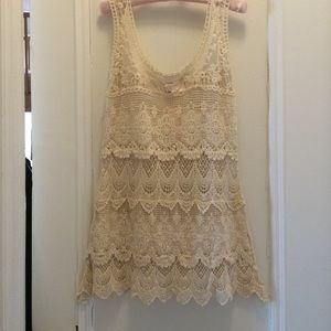 Romeo & Juliet Couture Ivory crochet lace dress
