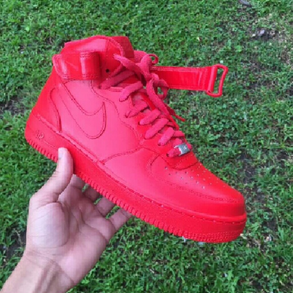 best sneakers 97a10 aa483 Air Force 1 mid fire red custom Boutique