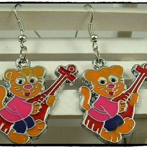 Jewelry - European Charm Enameled Bear With Guitar Earrings