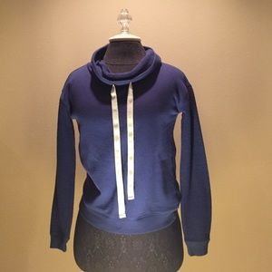 Ultra Flirt Tops - Navy Blue Cowl Neck Hoodie