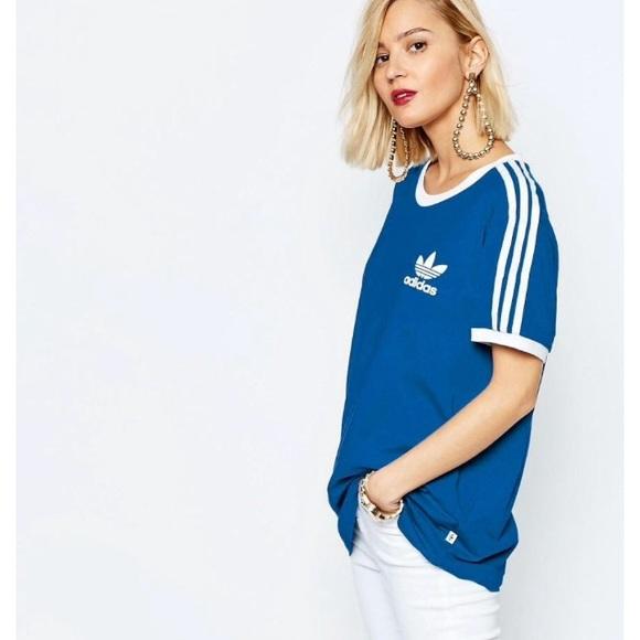79e1a25a Adidas Tops | Nwt Originals Blue 3 Stripe Tee | Poshmark
