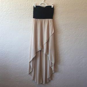 High-Low Black and Tan Midi Dress
