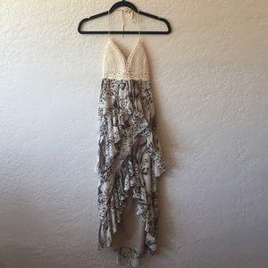 Crochet and Leopard Maxi Dress