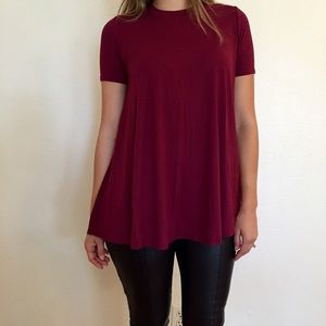 Tops - Burgundy Mock Neck Tunic