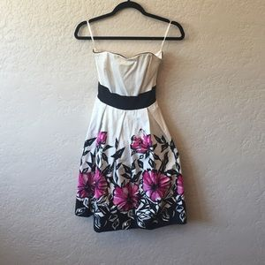 Strapless Dress with Pink Flowers and Black Detail