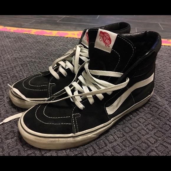 5d7dc23700 Vans Shoes - Vans Sk8-Hi Black   White Hi-Tops