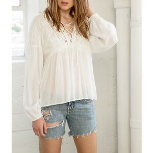 Bare Anthology Tops - Lace Up Peasant Top