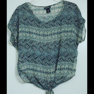 Kandy kiss Tops - KANDY KISS Taupe Blue Aztec Casual Tie-bottom Top