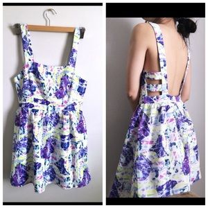 Blue floral Cut out Backless Sun dress