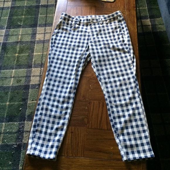 a8444b986cd699 UNIQLO Blue Checkered Cropped Leggings Pants L. M_573e3511713fdecfb7010a07