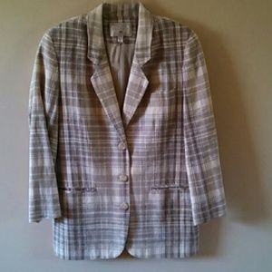 Vintage 80s-90s Express Plaid Cream Blazer