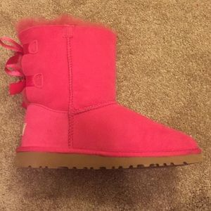pink bailey bow tie ugg boots ugg bailey bow gray short 7 5 shaft. Black Bedroom Furniture Sets. Home Design Ideas