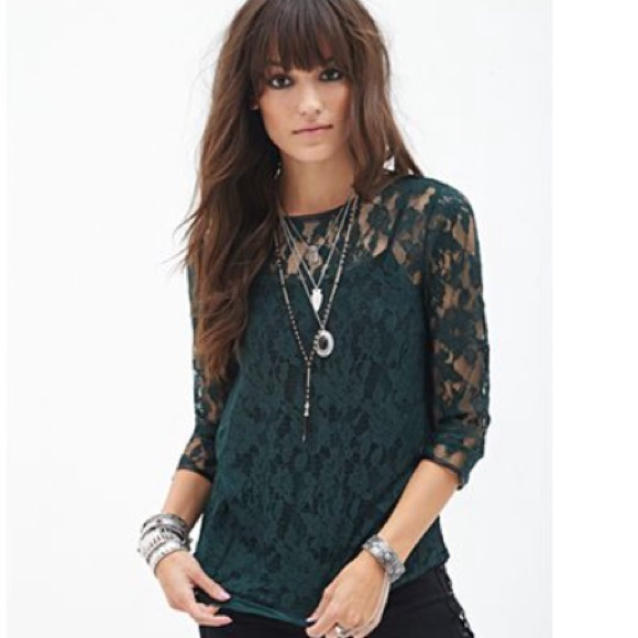Green Lace Blouse - Breeze Clothing