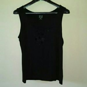 212 Collection Tops - 212 Collection Black Embellished Tank Top