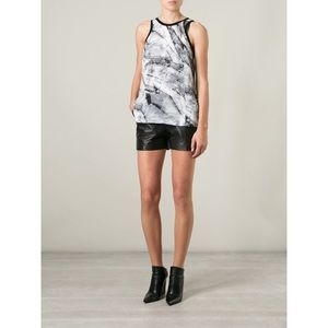 NWT Helmut Lang Marble Print Silk Tank Top Small