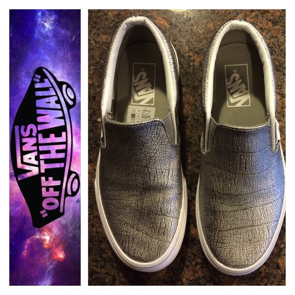 f022a238eee Vans Silver Metallic Leather Slip-On Sneaker. M 573e5e512de512b2e10028b8