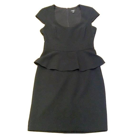 Ann Taylor Dresses Black Cap Sleeve Peplum Dress Size 2 Poshmark