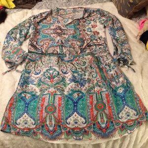 Caftan style printed dress