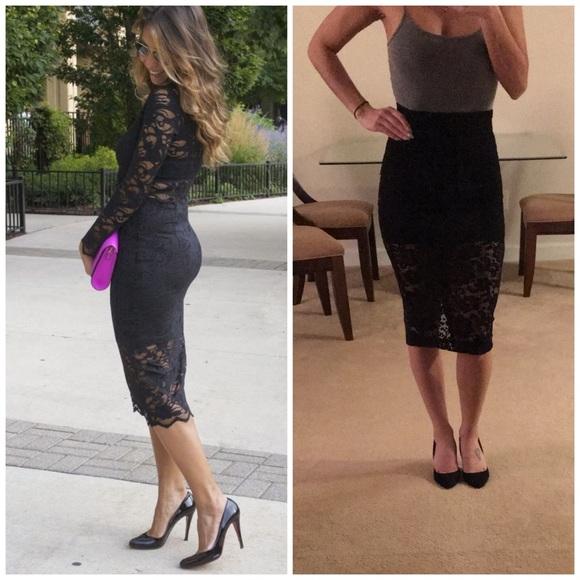 1f155724a H&M Skirts | Hm Lace Bottom High Waist Pencil Skirt Midi | Poshmark