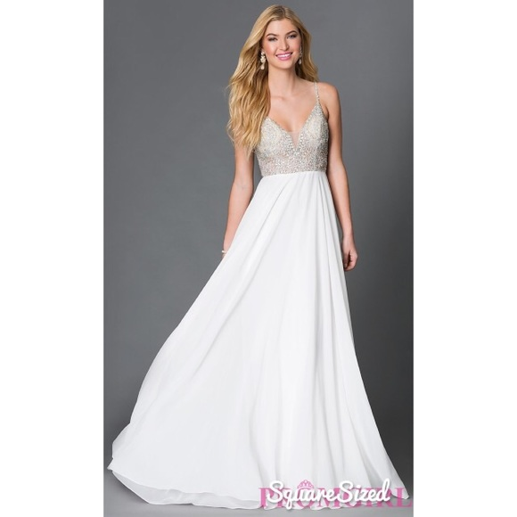 Jovani Dresses | White Beaded Prom Dress Style 33701 | Poshmark