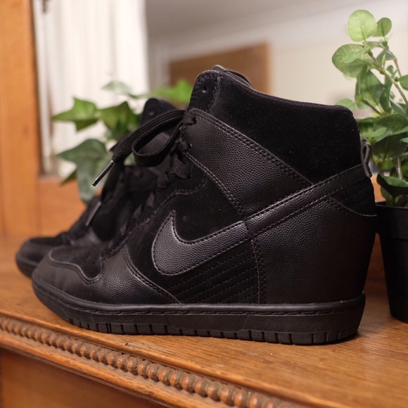 Nike Dunk Sky Hi Essentials Black Wedge Sneaker. M 573e85a5f0137de8cc0097c8 85b05262f