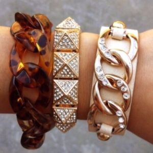 T&J Designs Jewelry - 🎉HP x 3🎉 Gold Chain Faux Leather Bracelet