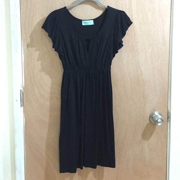 Tea Mints Dresses Black Flutter Sleeve Empire Waist Dress Poshmark