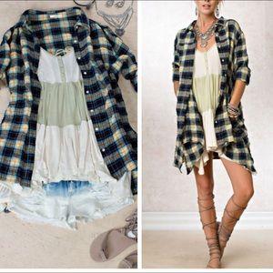 •plaid button down dress•