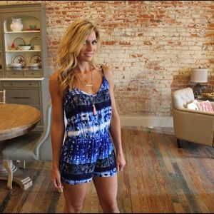 Blue and white printed romper