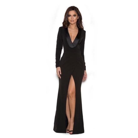 House of CB Dresses | Salome Black Draped Tux Maxi Dress | Poshmark