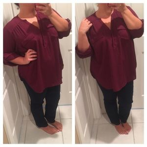 Wine chiffon button down
