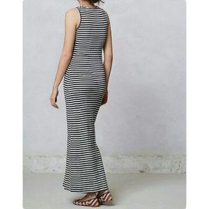 Bordeaux stripe column maxi dress