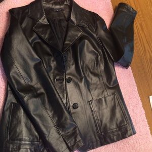 Black Leather Coat, Beautiful, seldom worn