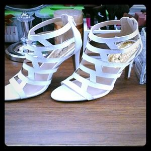 White caged heels NWT