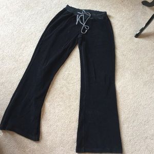 Long Elegant Legs Pants - Crushed Velvet Track Pants