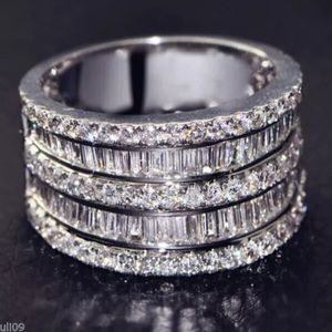 White Sapphire Silver Eternity Cocktail Ring