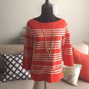J. Crew Striped boat neck sweater