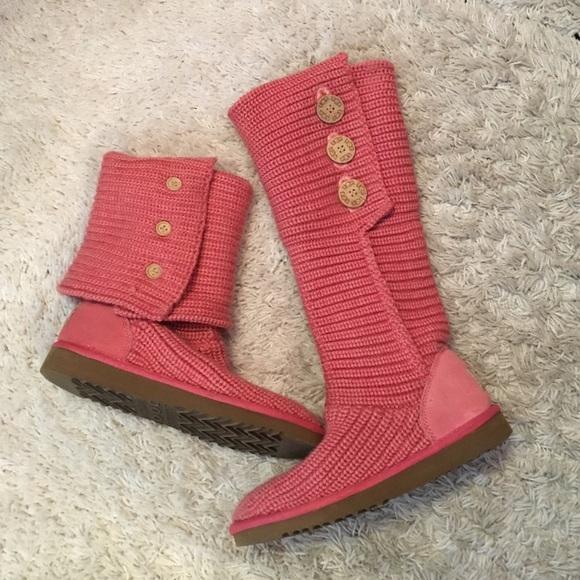 Ugg Shoes Pink Crochet Boots Poshmark