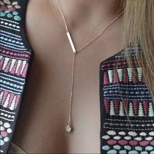 Jewelry - NEW 18K Gold-Plated rhinestone drop necklace