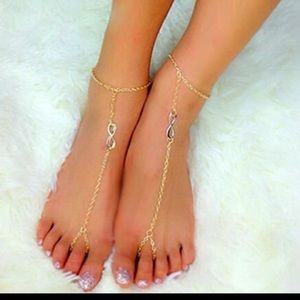 Jewelry - BOGO! NEW antique gold infinity anklets
