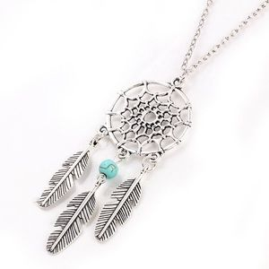 Jewelry - Boho silver dream catcher necklace Turquoise stone