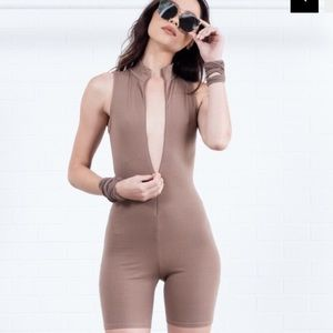 SOLD Mocha cropped bodysuit/unitard!