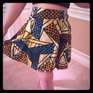 High waisted print skirt