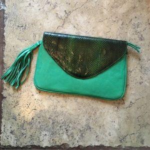 Cocobelle Emerald Fringe Clutch