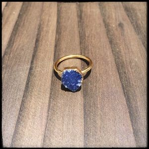 Jewelry - Gold Dipped Blue Druzy