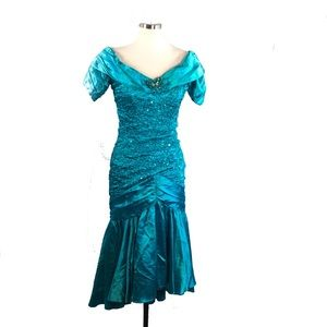 Totally Rad Vtg Bling Sequin Turquoise Prom Dress