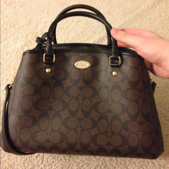 d0307c110a Coach Margot Carryall in Black Brown Signature NWT