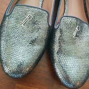 Rachel Zoe Zahara Metallic lizard loafers