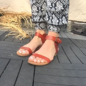 Mossimo Brown Leather Toe/Ankle Strap Sandals