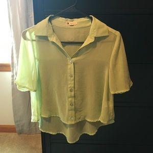 Sheer crop light green blouse.